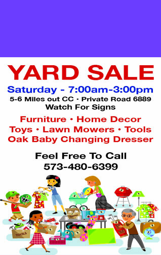 Levi Reeves yard sale web ad eighth 10-18-17