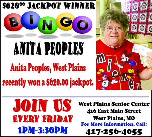 Anita Peoples winner Senior Center Bingo 11-16-17